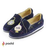 Paidal夢遊仙境懷錶香水加厚底休閒鞋樂福鞋懶人鞋-格紋藍