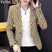西裝外套 男士韓版西裝休閒修身型小西裝潮流條紋西服個性上衣春秋季外套男