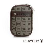 PLAYBOY- Yuppie Rabbit 雅痞方格兔系列 零錢鑰匙包-拿鐵咖
