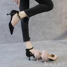 低跟鞋低跟單鞋女新款貓跟一字扣高跟鞋尖頭細跟3cm百搭小跟少女春 蘿莉小腳丫