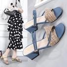 高跟拖鞋 涼鞋女2021夏季新款百搭時尚粗跟兩穿涼拖休閒羅馬鞋仙女風一字拖