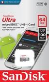 【公司貨】SanDisk Ultra MicroSDXC 100MB/S 64GB Class10 U1 記憶卡 【無轉卡】Micro SDXC SD TF 64G