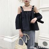 復古港風夏裝新款露肩寬鬆泡泡袖顯瘦娃娃衫短款襯衫上衣女裝艾美時尚衣櫥