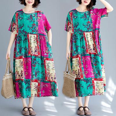 洋裝 短袖連身裙8908#寬松大碼胖MM顯瘦棉麻短袖連身裙F5F005日韓屋