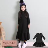 女童洋裝 黑色加絨加厚荷葉邊裙襬洋裝 韓國外貿中大童 QB allshine