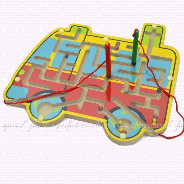 【DG475】木製磁性運筆迷宮益智遊戲 益智玩具 運筆訓練 雙筆桿 磁性迷宮★EZGO商城★