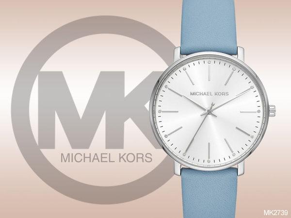 【時間道】MICHAEL KORS 時尚簡約中性皮革腕錶 / 白面粉藍皮 (MK2739)免運費