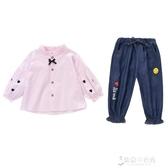 女寶寶秋裝洋氣韓版時髦兩件套新款兒童秋季網紅衣服女童套裝 【快速出貨】