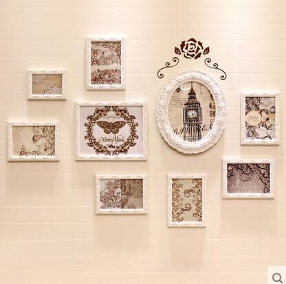 創意照片牆歐式實木相框牆客廳沙發背景相片牆相框掛牆[伊利莎白]