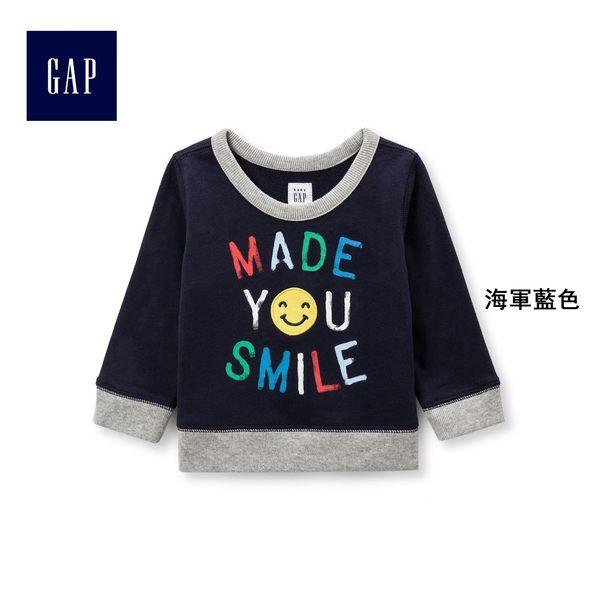 Gap男嬰兒 多彩字母圖案圓領套頭長袖休閒上衣 402592-海軍藍色