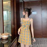 復古格子吊帶連身裙女高腰顯瘦A字短裙夏2019流行裙子