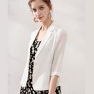 中大尺碼薄外套 雪紡短袖俏麗顯瘦西裝短外套 白色 L-5XL #mm78525 @卡樂@