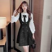 雪紡洋裝 秋季名媛小香風氣質修身 拼接長袖雪紡顯瘦假兩件連身裙女 店慶降價