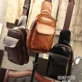 男士胸包腰包時尚休閒斜背小包單肩包潮流青年韓版運動女背包 韓語空間