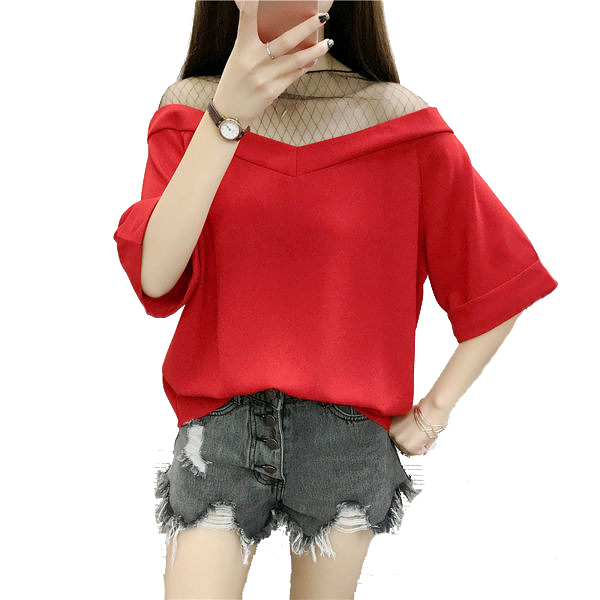 性感肩領網纱拼接短袖雪紡寬鬆上衣 (黑 姜黃 紅)三色售 (M7SS) 11710018