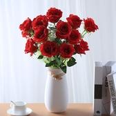 仿真法式玫瑰花客廳裝飾花束餐桌塑料假花擺件婚慶干花藝插花擺設