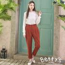betty's貝蒂思 韓系後腰鬆緊哈倫褲(橘紅色)