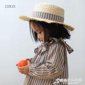 兒童帽 papa爬爬春夏新品女編織草帽女童遮陽帽漁夫帽48-52cm 時尚芭莎