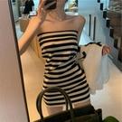 平口洋裝/一字領 韓風chic條紋一字肩連身裙 夏2021新款收腰顯瘦內搭打底氣質小裙子