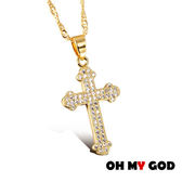 OH MY GOD十字架微鑲鋯石鍍金項鍊