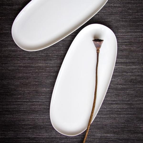 阿七|橢圓|茶盤 純白瓷托盤骨瓷茶海功夫茶具壺承干泡臺陶瓷茶具1入