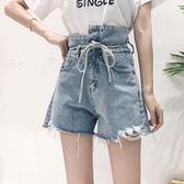 不規則毛邊高腰繫帶寬鬆顯瘦牛仔短褲女夏新款超火熱褲子     麥吉良品
