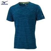 MIZUNO 男裝 短袖 上衣 慢跑 路跑 吸汗快乾 後領反光圈 素面 藍【運動世界】J2TA000632