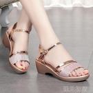楔型鞋大東妞涼鞋女新款厚底中年楔型涼鞋夏季舒適中跟真皮媽媽女鞋紓困振興