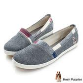 Hush Puppies 拼接格紋咖啡紗TiTi懶人鞋-灰藍