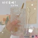 熱賣玻璃杯 網紅北歐風復古浮雕金邊玻璃杯太陽花水杯奶茶店果汁杯冷飲杯 coco