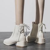 靴子短靴女粗跟中跟冬季2020新款春秋單靴瘦瘦靴馬丁靴