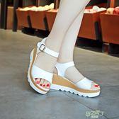 夏季新品女士厚底厚底楔形正韓涼鞋時尚鬆糕底中跟休閒女涼鞋子潮