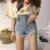 高腰破洞不規則牛仔短褲女春夏裝2018新款韓版chic直筒闊腿褲熱褲  蒂小屋服飾