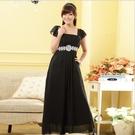 中大尺碼洋裝 L-3XL小禮服韓版雪紡短袖縫鑽長版連衣裙 黑色 #gk9802 @卡樂@