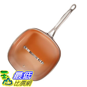 [8美國直購] 不沾鍋 Gotham Steel 2136 Square Shallow Fry Pan with Lid-Extreme Nonstick Copper Coating 11吋 Brown