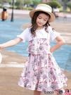 熱賣兒童洋裝 女童連身裙夏裝2021新款洋氣純棉短袖拼接碎花假兩件夏季兒童裙子 coco