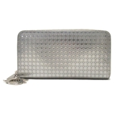 Dior 迪奧 銀色PVC壓紋ㄇ字型拉鍊長夾 Lady Dior Croisiere【二手名牌BRAND OFF】