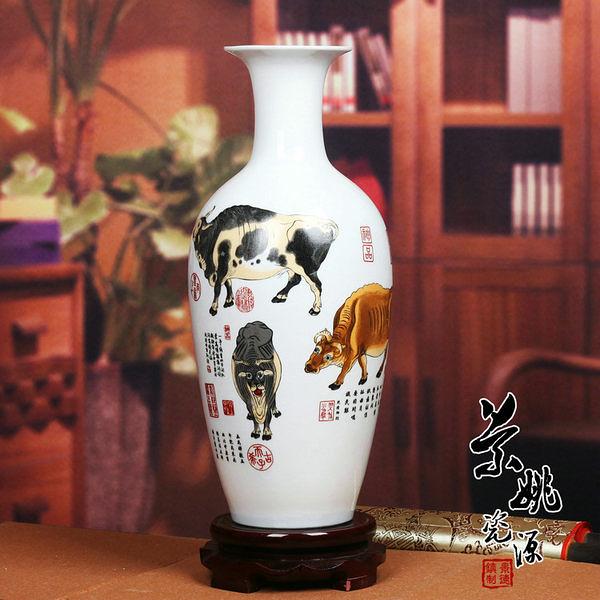 五牛圖 美人尖粉彩花瓶