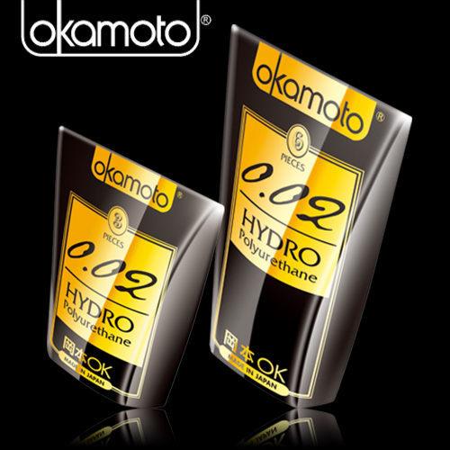 避孕套 Okamoto岡本-002-HYDRO 水感勁薄衛生套(6入裝) +潤滑液1包