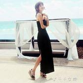 現貨出清新品波西米亞沙灘渡假抹胸洋裝露背性感長裙無袖開叉裹胸裙「千千女鞋」6-1