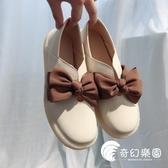 豆豆鞋-豆豆鞋女春秋新款平底單鞋牛筋軟底小皮鞋蝴蝶結娃娃韓版百搭-奇幻樂園