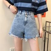 牛仔短褲女2020夏季新款小個子高腰寬鬆顯瘦百搭學生a字寬管熱褲 滿天星