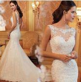 新款一字肩蕾絲露背魚尾小拖尾新娘婚紗禮服YY1902『毛菇小象』