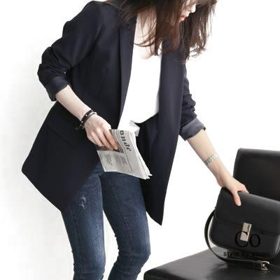2019春裝新款潮韓版一粒扣休閒小西裝通勤職業長袖修身女西服外套『潮流世家』