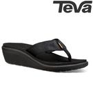 TEVA《女款》超輕量舒適記憶鞋床寬版織帶夾腳拖 Voya Wedge - 黑