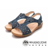 WALKING ZONE(女)淑女縷空黏釦帶 止滑休閒涼鞋 女鞋-藍(另有橘)