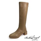 長靴 完美作風素面方頭長筒跟靴(卡其)*BalletAngel【18-A118ca】【現+預】
