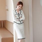 西裝套裝外套+短裙(兩件套)-毛呢小香風魚尾裙氣質女西服2色73yz1[巴黎精品]