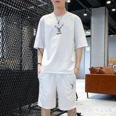 兩件套短袖男t恤寬鬆2019夏季新款韓版潮流運動套裝青少年男士大碼寬鬆LZ1892【PINK中大尺碼】