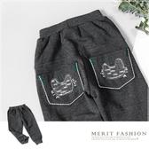 純棉 貓咪針織口袋造型內刷毛棉褲 灰色 保暖 長褲 刷毛 內刷毛 厚款 冬 舒適 棉質 男童 韓版